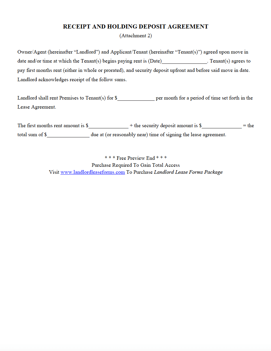 Receipt And Holding Deposit Agreement Landlord Lease Forms Rental
