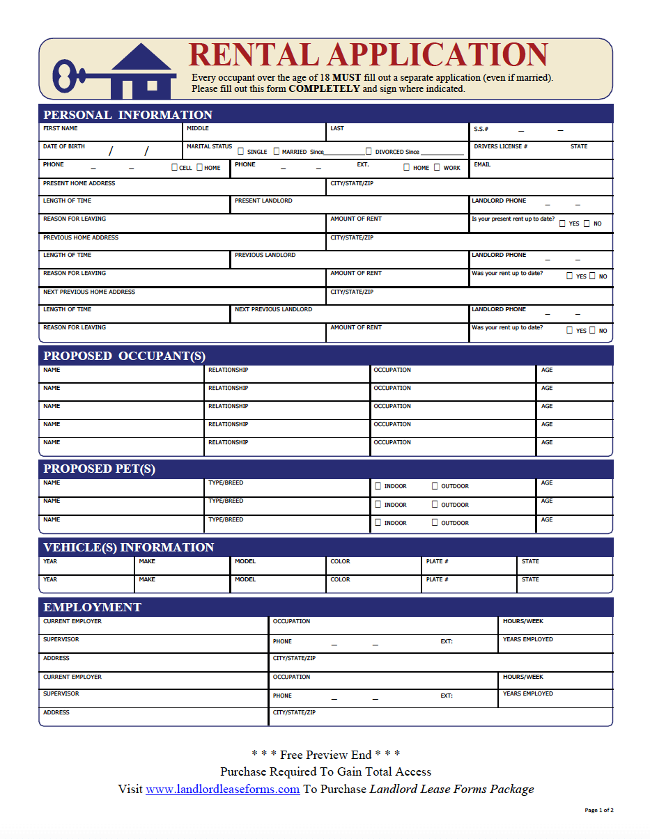 application to rent form