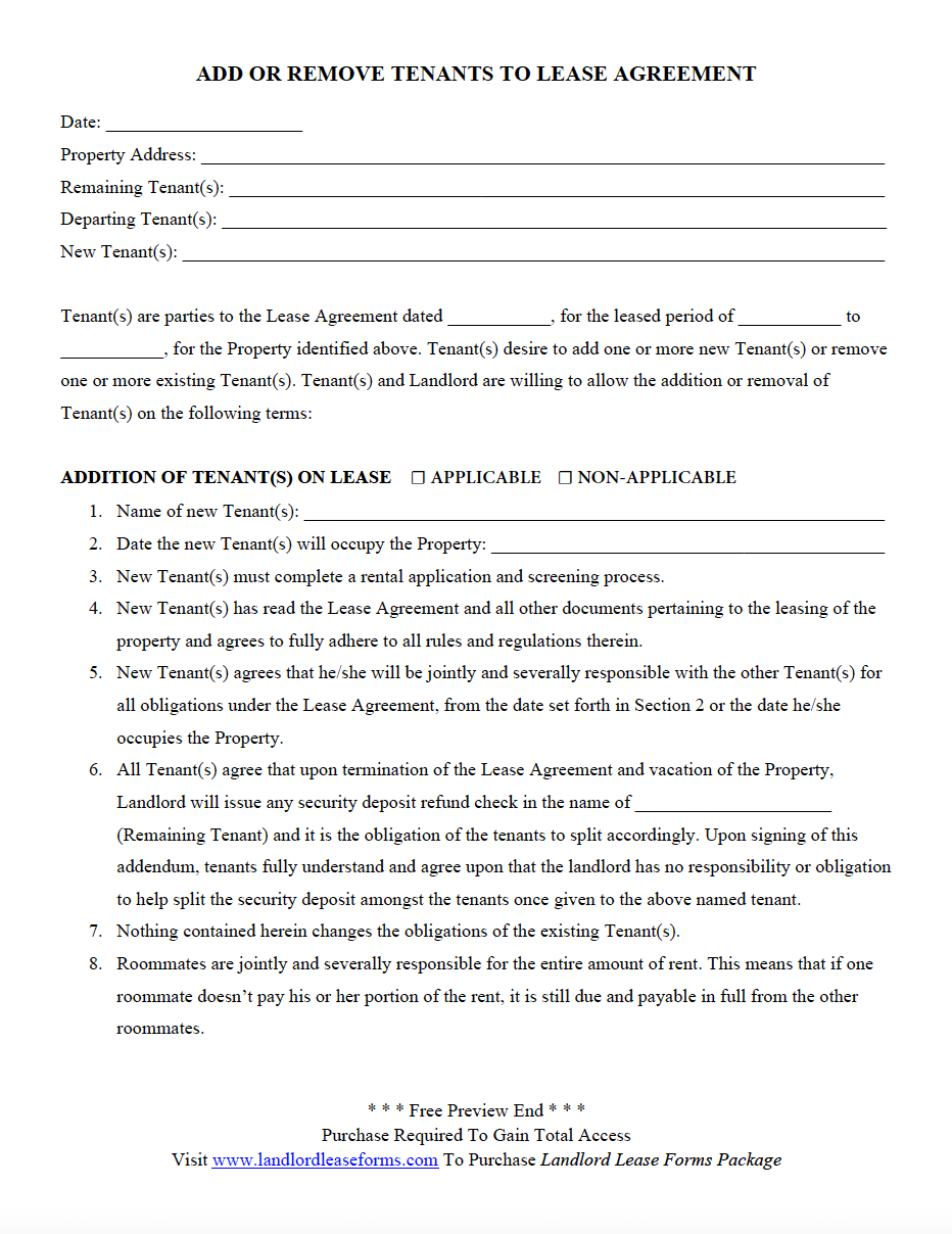 Add Or Remove Tenants To Lease Agreement Landlord Lease Forms