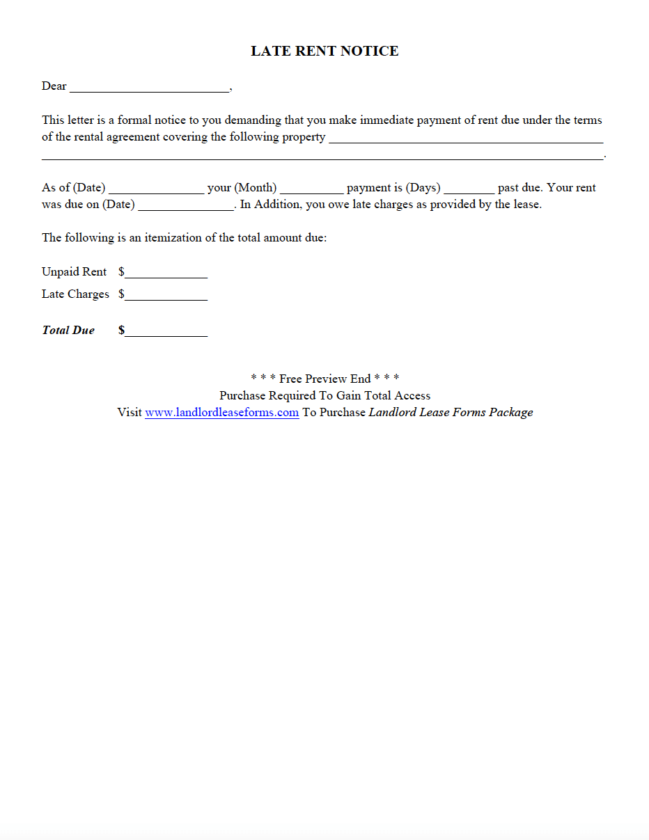 Late Rent Notice Landlord Lease Forms Rental Agreement Forms
