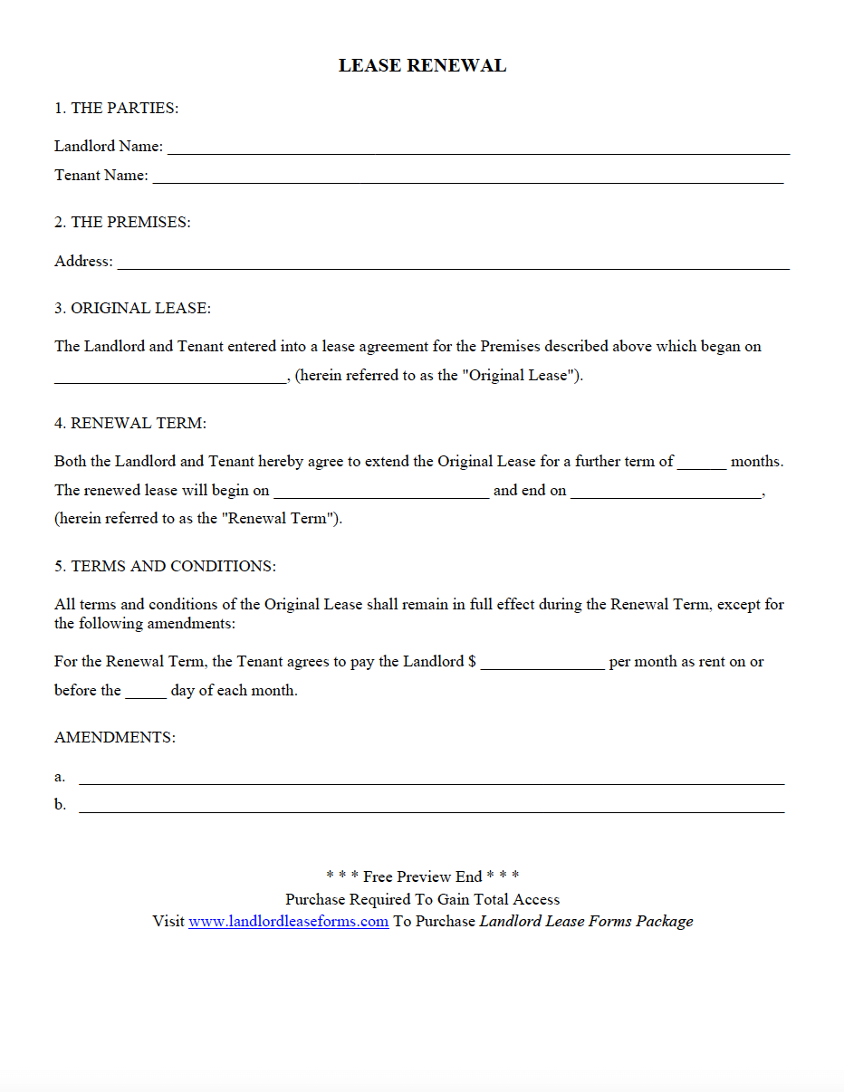 landlord lease forms  residential lease agreements