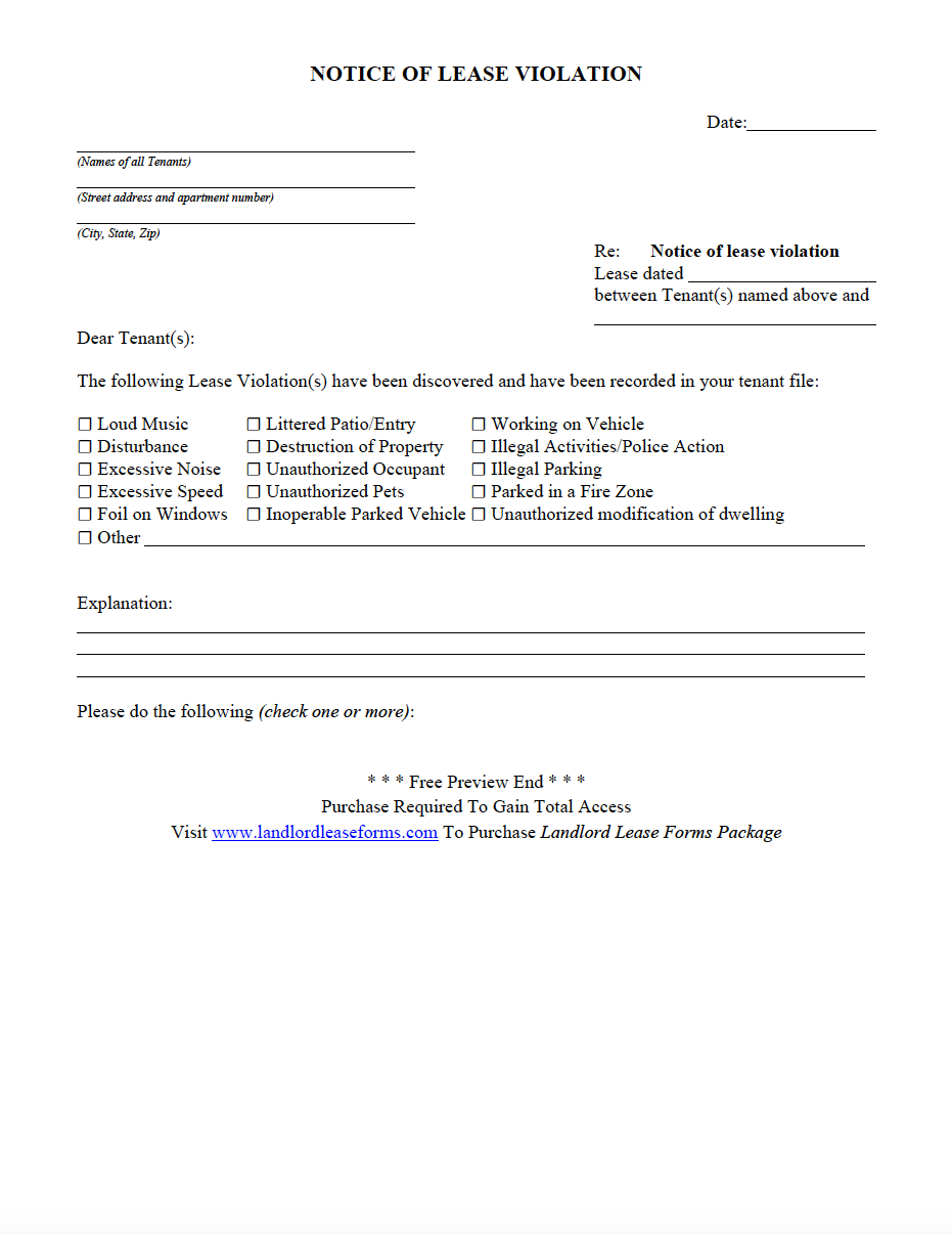 notice of lease violation landlord lease forms rental agreement
